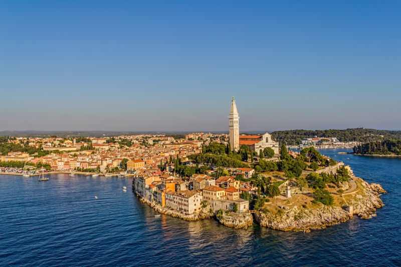 Aerial shoot of Old town Rovinj at sunset, Istra region, Croatia.