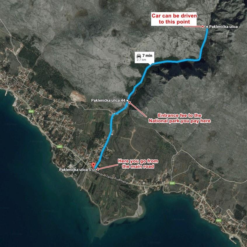 Map Paklenica Entrance