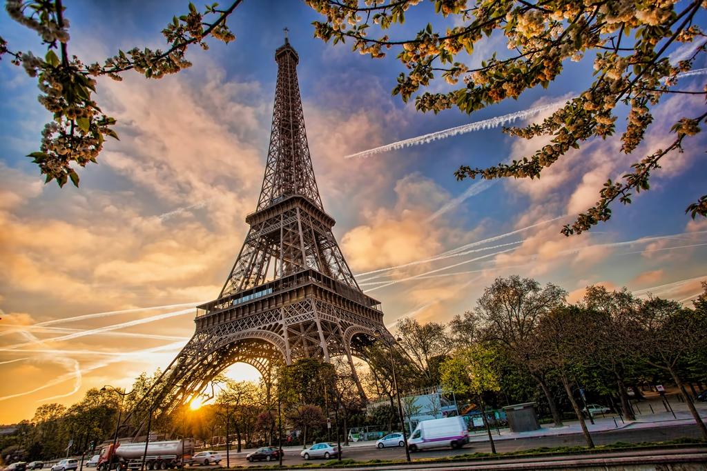 Eiffel Tower against sunrise