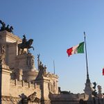altare della patria with italian flags