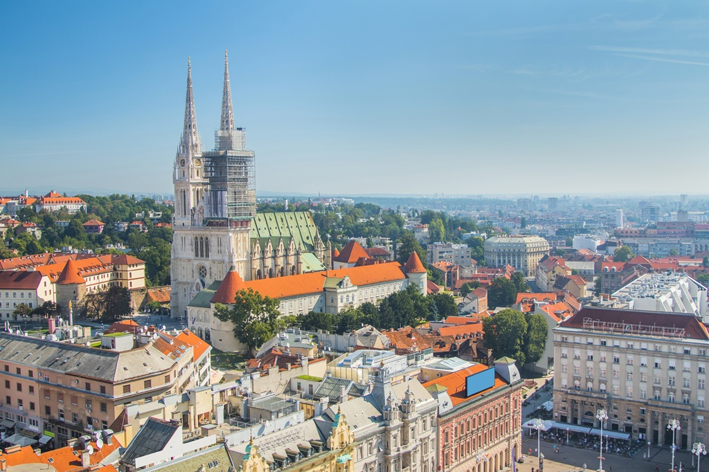 Jelacic square and catholic cathedral in the center of Zagreb, Croatia, panoramic view