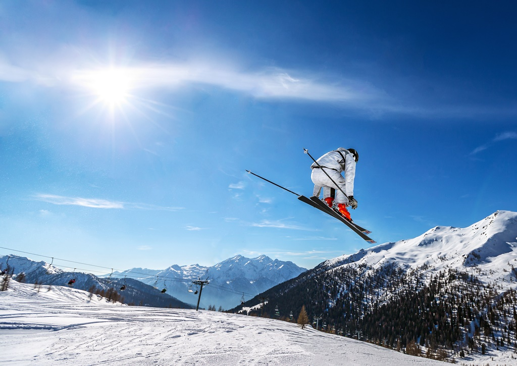 Skier jump with high speed