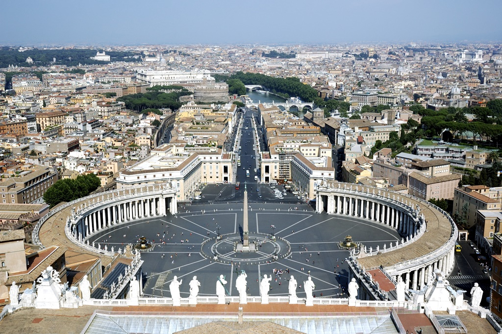 Castel St. Angelo, Ponte St. Angelo and the Vatican Square from the top of the basilica of Saint peter, in the vatican city