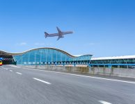 airport terminal background ,aircraft and highway with blue sky