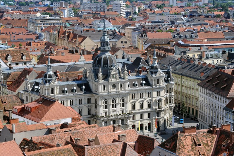 Panorama of the Graz with the city hall, Styria, Austria