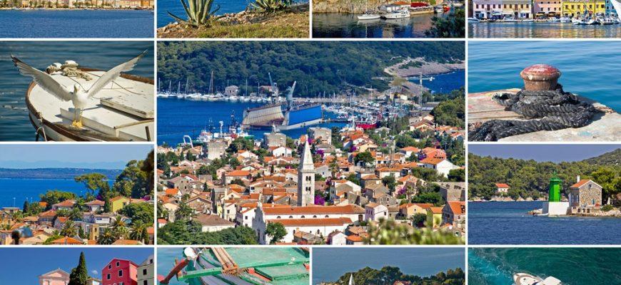 Island of Losinj tourist destination collage postcard, Croatia