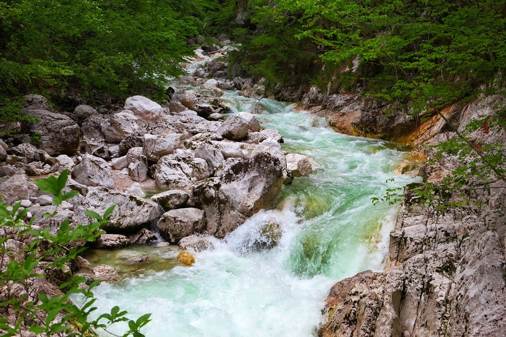 Mountain river flow between stone.Waterfall Savica, Slovenia