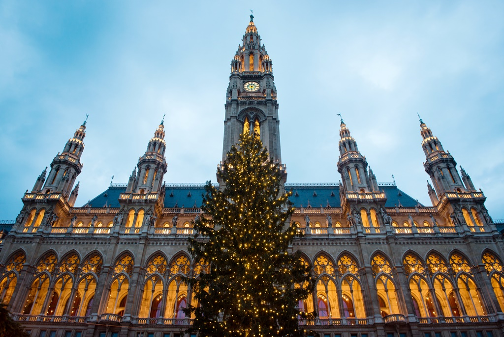 Christmas tree in front of Town Hall (Rathaus) of Vienna, Austria