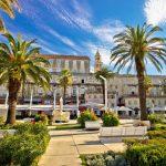 Split Riva palm waterfront view, Dalmatia, Croatia