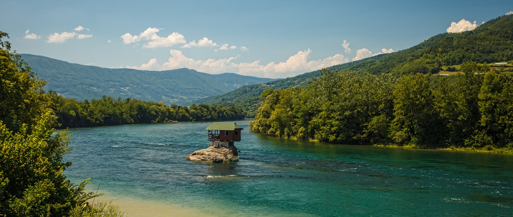 Serene lonely house on the river Drina in Bajina Basta, Serbia