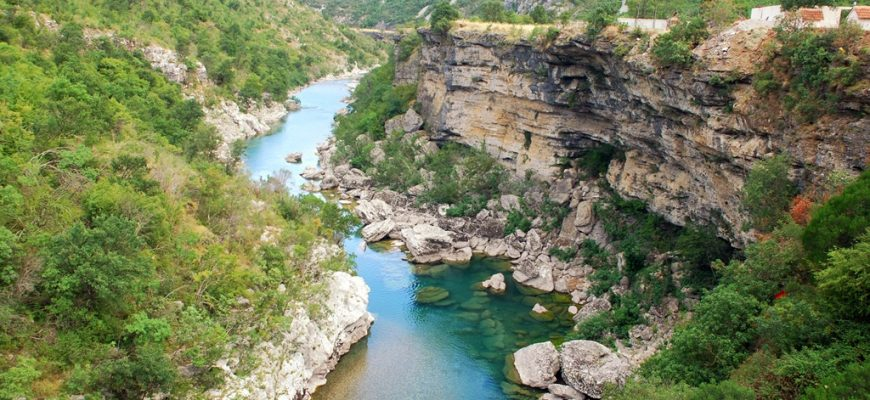 Scenic deep canyon with blue Tara river in Montenegro mountains