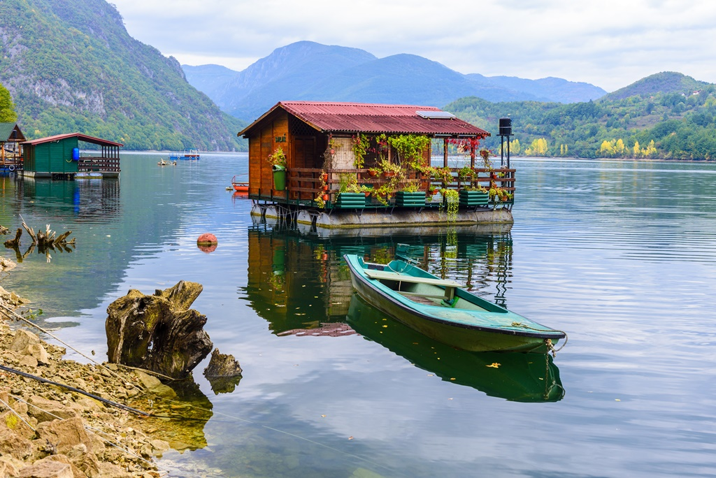 Houseboats of Perucac lake, Tara National Park (Serbia)