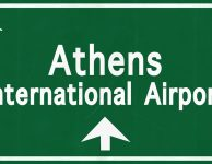 Athens airport sign