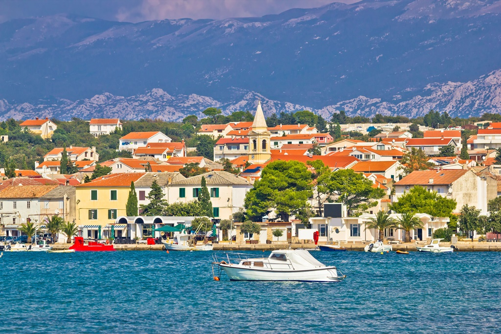 Town of Novalja on Pag island waterfront view, Dalmatia, Croatia