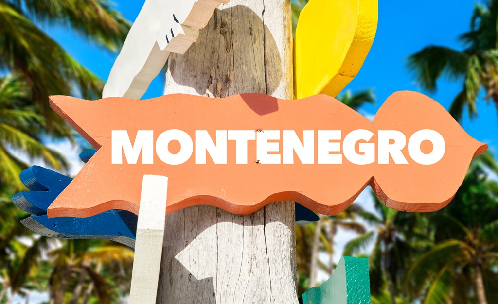 Montenegro signpost with palm trees