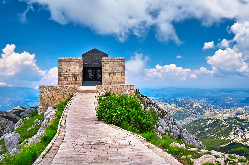 The mausoleum of Njegos located on the top of the Lovcen Mountain, Montenegro.