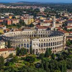 Roman time arena in Pula, detail, Croatia. UNESCO world heritage site.