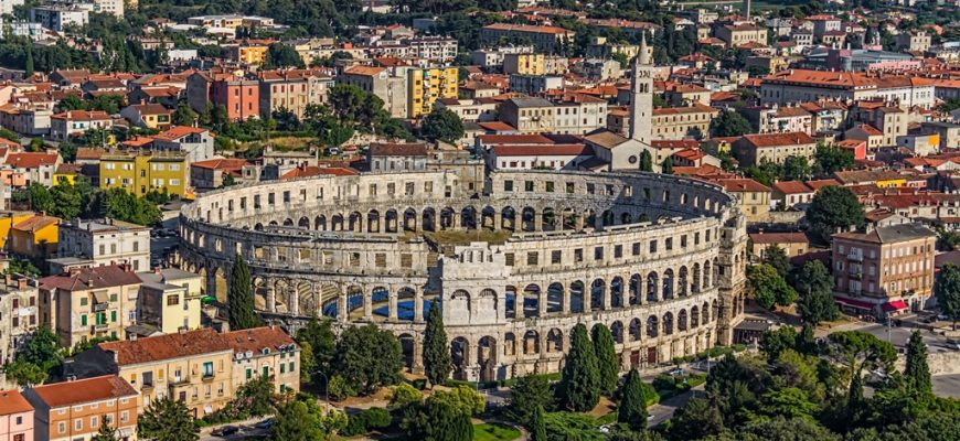 Roman time arena in Pula, detail, Croatia. UNESCO world heritage site.