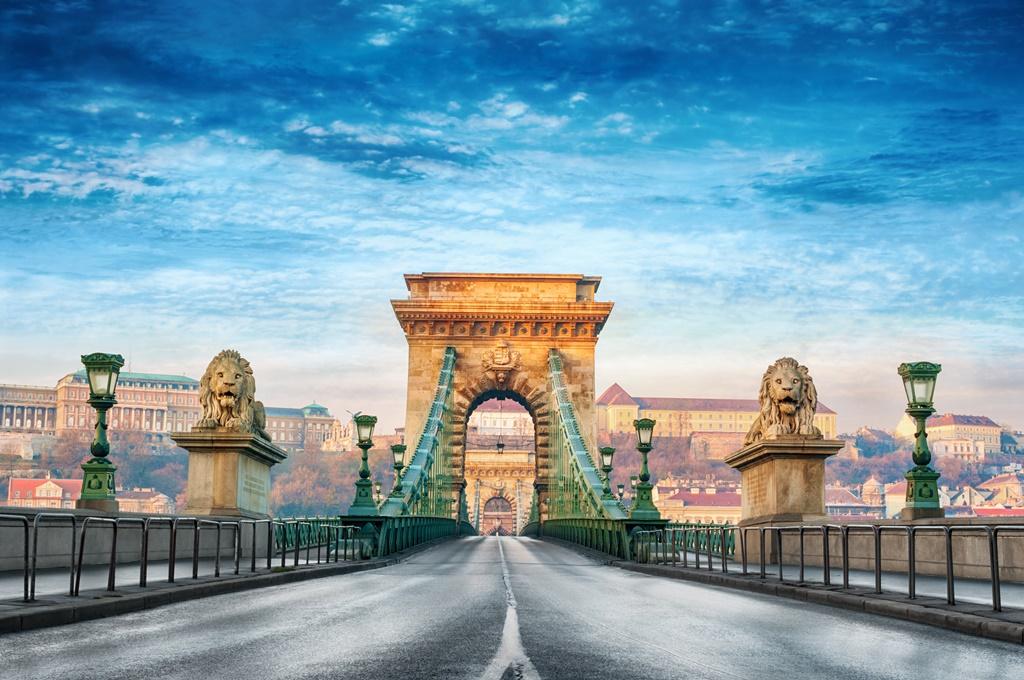 Chain bridge in Budapest, Hungary.