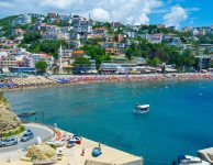 Ulcinj is the popular resort with the cozy beach, scenic coast, interesting architecture, many parks for the tourists' pleasure, Montenegro.