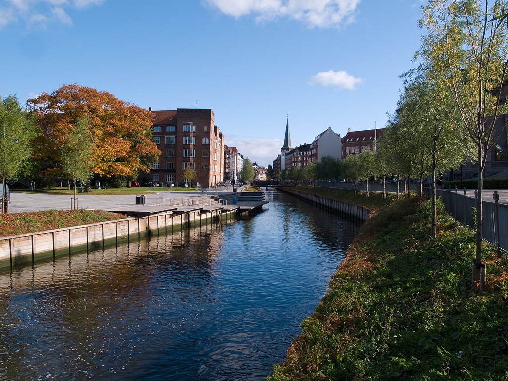 The center of town city of Aarhus in Denmark
