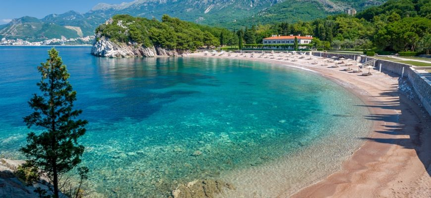 Beautiful Montenegro bay with sand beach and perfect Adriatic sea water