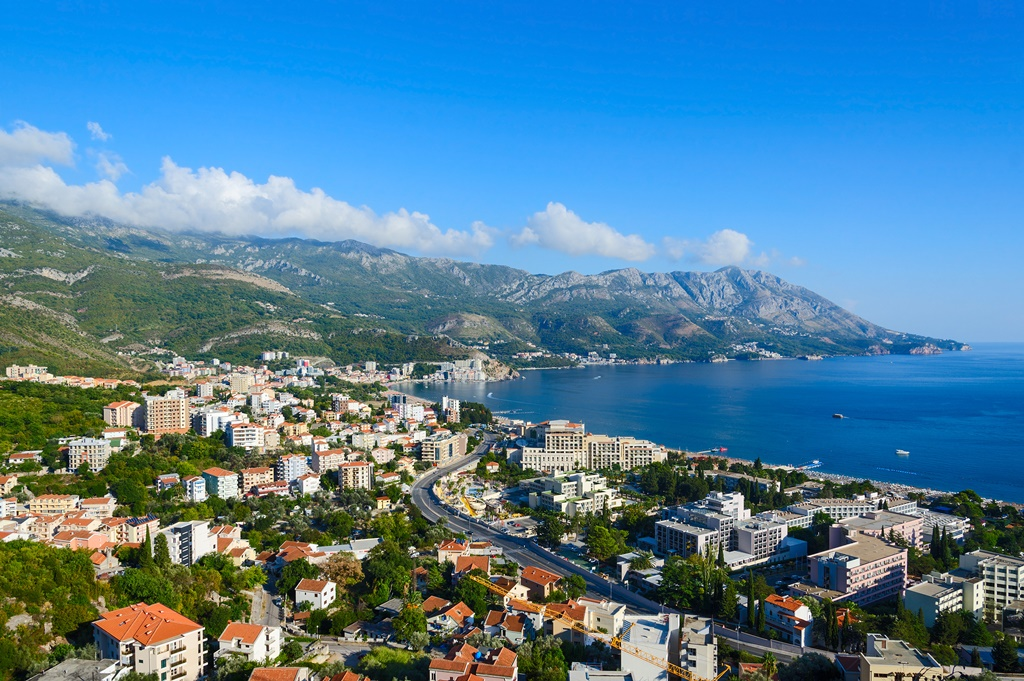 Beautiful view from above of the resort town of Becici on the Adriatic coast, Montenegro