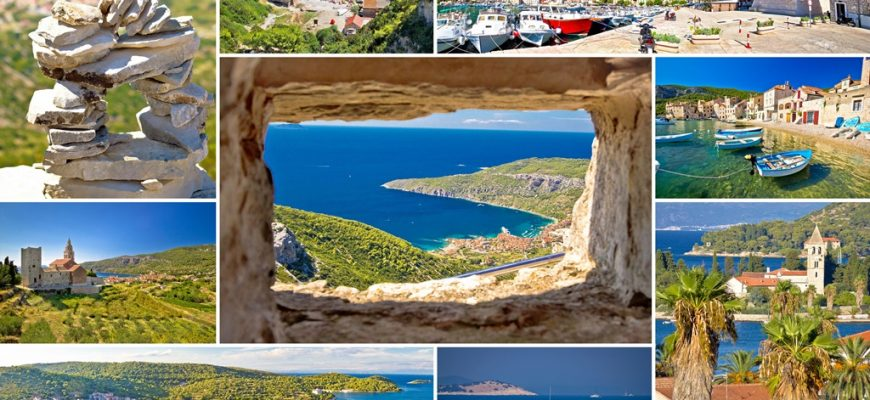 Island of Vis tourist collage, Dalmatia, Croatia