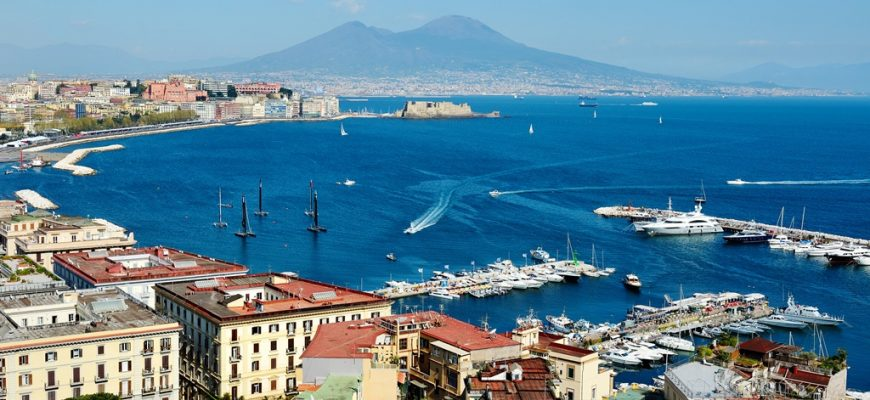 wonderful Naples panoramic view with Vesuvius and gulf from Posillipo
