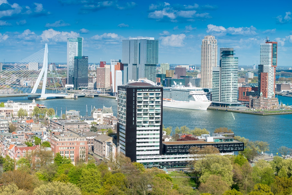 Rotterdam, Netherlands. City skyline on a beautiful sunny day.
