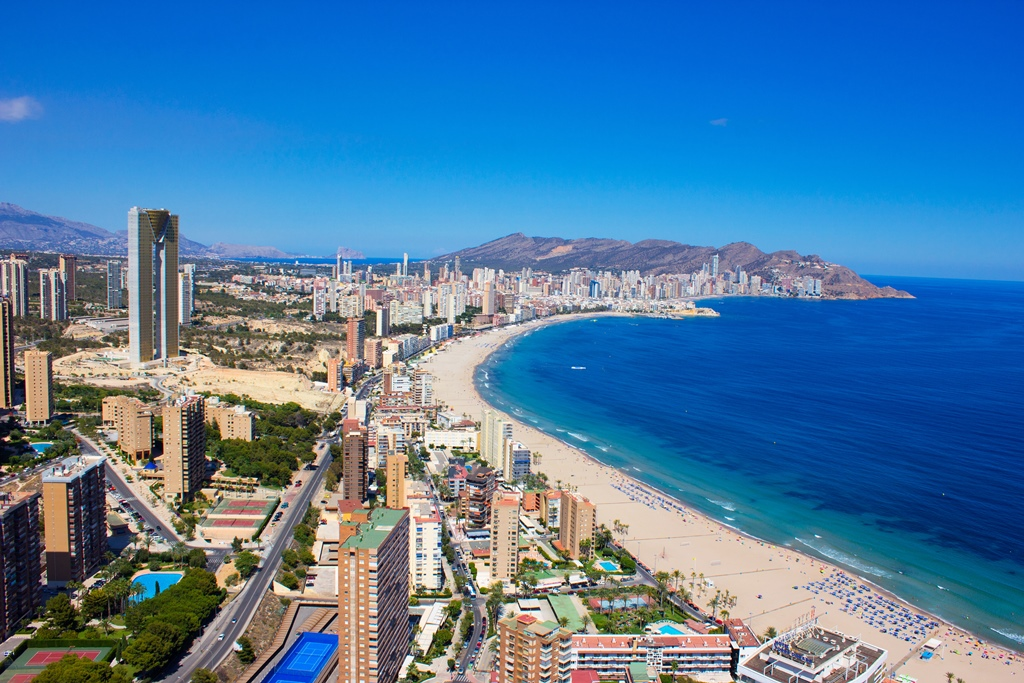hotels and beach of Benidorm