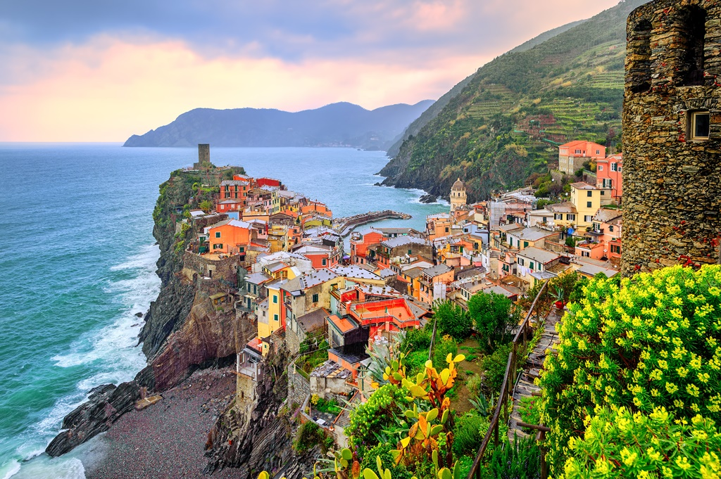Vernazza in Cinque Terre, Liguria, Italy, on sunset