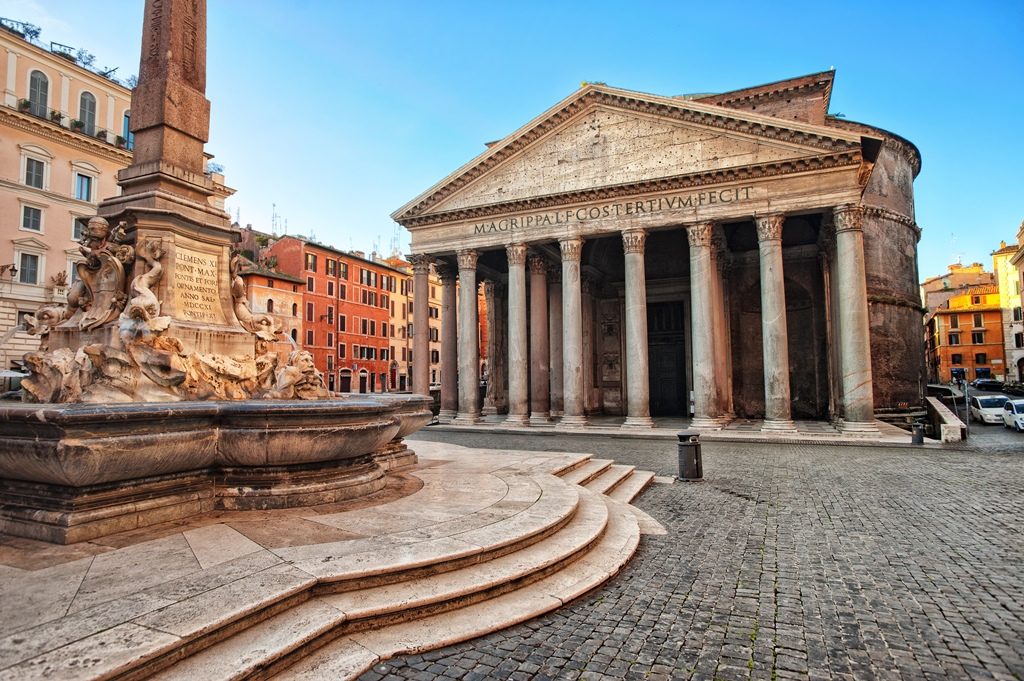 View of the Pantheon, Rome, Italy, in the early morning
