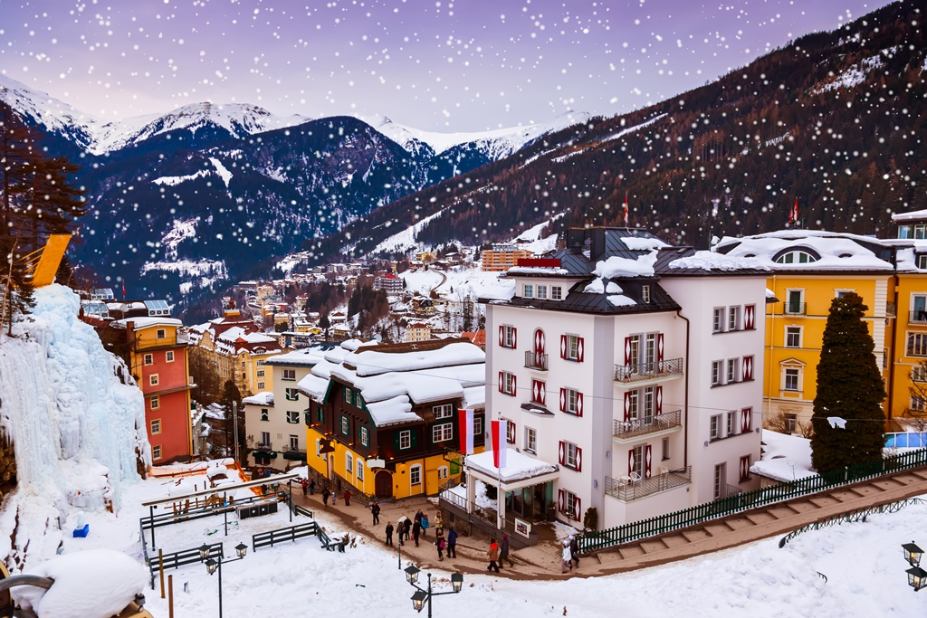 Mountains ski resort Bad Gastein Austria - nature and architecture