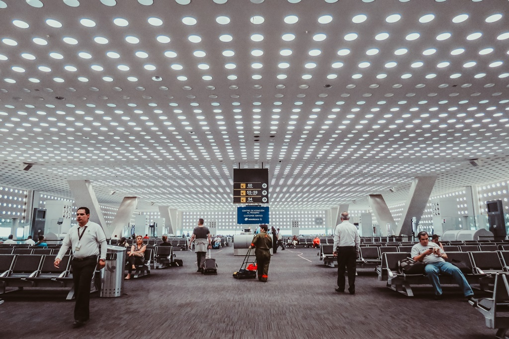 Waiting room at the International Airport of Mexico City, airports in Mexico
