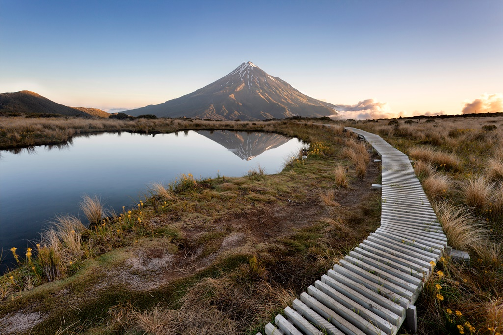Mt Taranaki viewed from the Pouakai Range, Egmont National Park, New Zealand