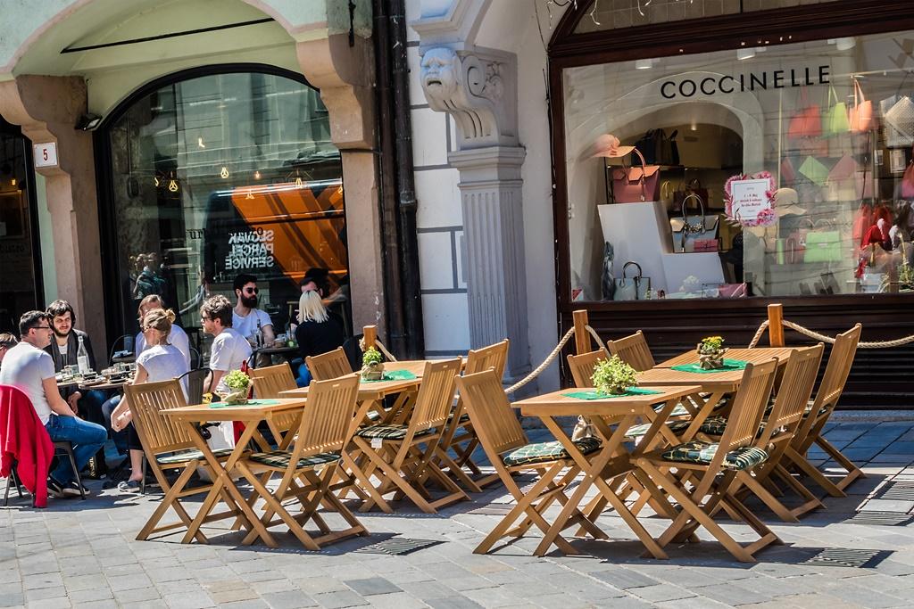 People eating outside in Bratislava