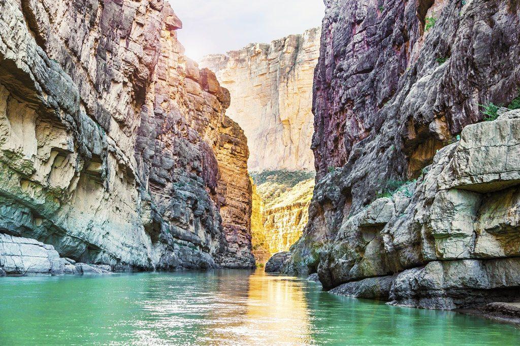 Santa Elena Canyon and Rio Grande river at Big Bend National Park