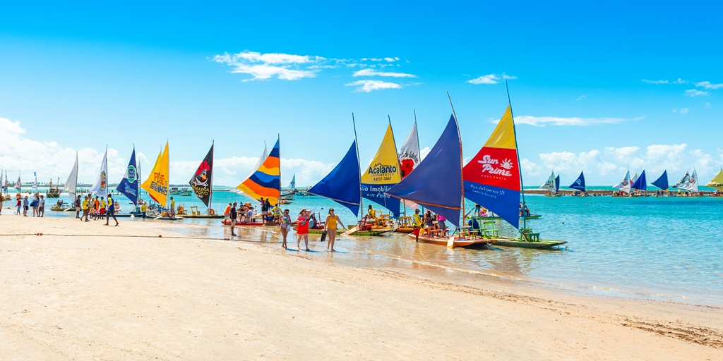 Sailing boats on the beach of Porto de Galinhas