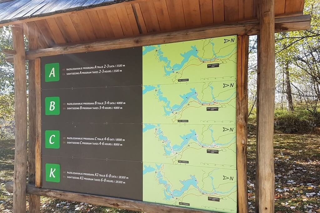 Map with walking trails at Plitvice