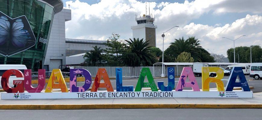 Guadalajara International Airport, Jalisco Mexico. Coloful letter Guadalajara sign. October 2019